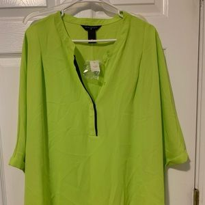 Lime green pull over shirt